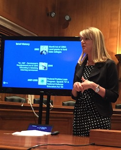 NASFAA's Megan McClean delivers a presentation to Congress